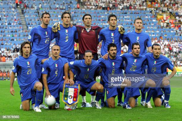 The Italy football team prior to the FIFA World Cup SemiFinal between Germany and Italy at the FIFA WM Stadion in Dortmund on July 4th 2006 Italy won...
