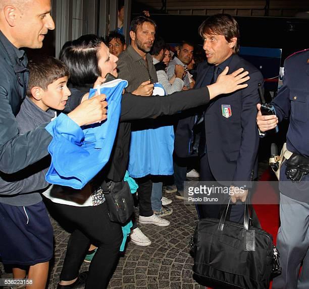 The Italy head coach Antonio Conte departs for Coverciano on the Frecciarossa 1000 train at Stazione Termini on May 31 2016 in Rome Italy