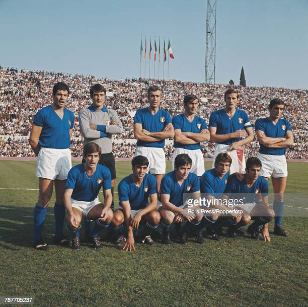 The Italy National football team line up before an international game in Italy in 1970. The team are from left to right: Back row - Sandro Salvadore,...