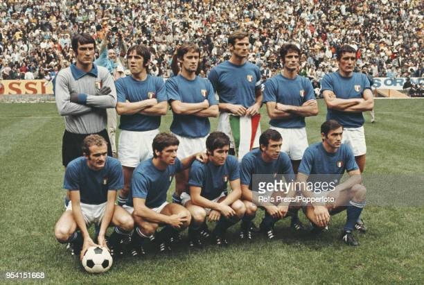 The Italy National football team line up before an international game in Italy circa 1970. The team are from left to right: Back row - Enrico...