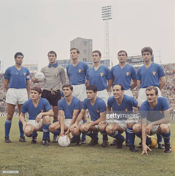 The Italy National football team line up before their international game against Argentina in the Stadio Comunale in Turin Italy on 22nd June 1966...