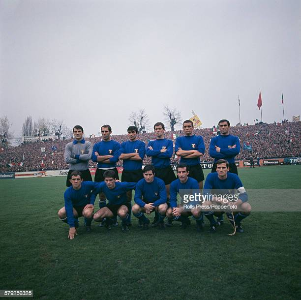 The Italy National football team line up before their international game against Switzerland at the Stade de Suisse in Berne on 18th November 1967....