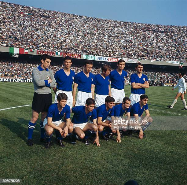 The Italy National football team line up before their international game against Bulgaria in the Stadio San Paolo in Naples, Italy on 20th April...