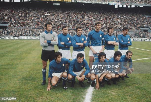 The Italy national football team line up together prior to playing in an international match at the San Siro stadium in Milan Italy in 1972 The team...