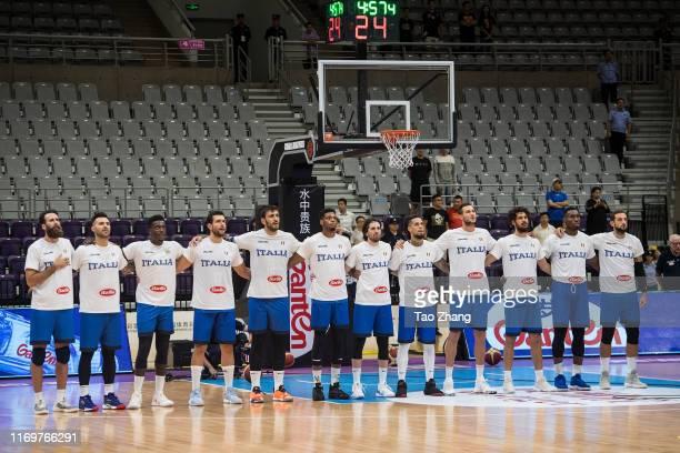 The Italy National Team line up before the International Men's Basketball Super Tournament 2019 match between Serbia and Italy at Shenyang Olympic...