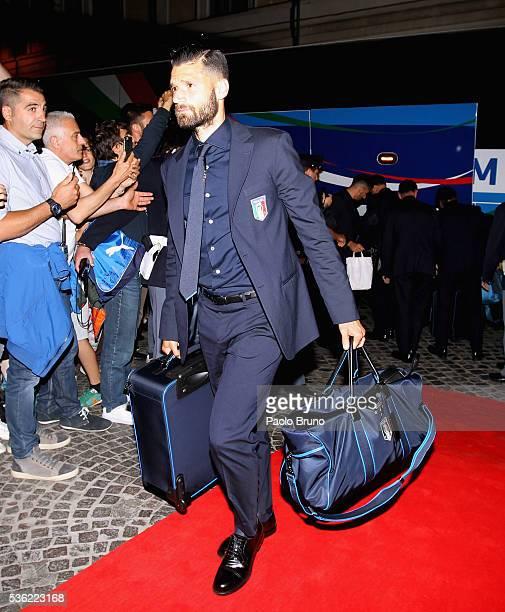 The Italy player Antonio Candreva departs for Coverciano on the Frecciarossa 1000 train at Stazione Termini on May 31 2016 in Rome Italy