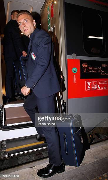 The Italy player Ciro Immobile departs for Coverciano on the Frecciarossa 1000 train at Stazione Termini on May 31 2016 in Rome Italy