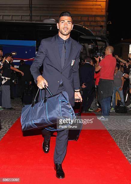 The Italy player Graziano Pelle' departs for Coverciano on the Frecciarossa 1000 train at Stazione Termini on May 31 2016 in Rome Italy