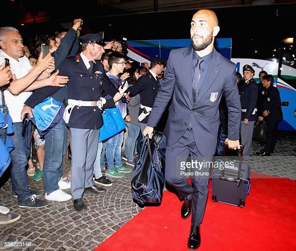 The Italy player Simone Zazza departs for Coverciano on the Frecciarossa 1000 train at Stazione Termini on May 31 2016 in Rome Italy
