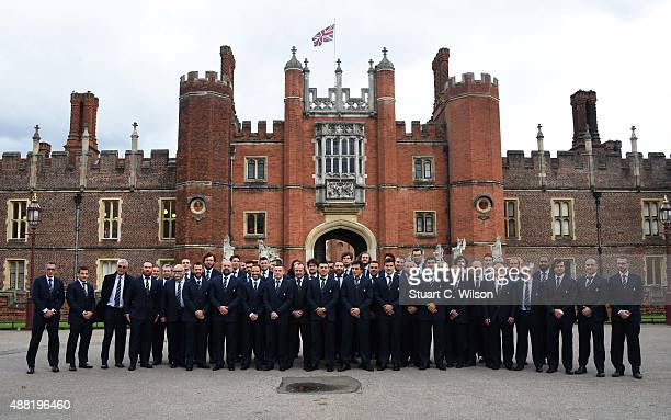 The Italy Rugby World Cup 2015 Team arrive for a welcoming ceremony at Hampton Court Palace on September 14 2015 in London England