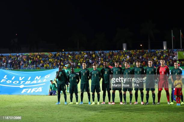 The Italy side line up for the national anthems during the FIFA U-17 World Cup Quarter Final match between Italy and Brazil at the Estádio Olímpico...