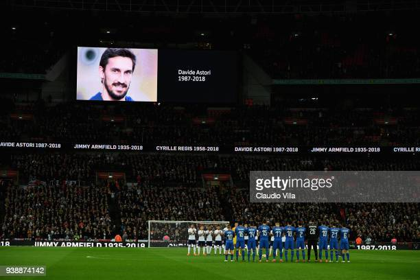 The Italy team and the England team observe a minutes silence in memory of Jimmy Armfield Cyrille Regis and Davide Astori prior to the the...