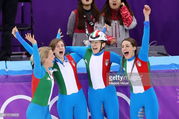 The Italy team celebrate winning the bronze medal following the Ladies Short Track Speed Skating 3000m Relay Final A on day eleven of the PyeongChang...
