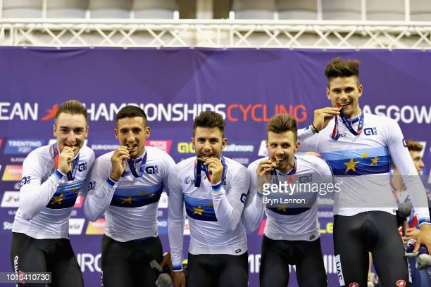 The Italy team celebrate winning the gold medal in the Mens Team Pursuit during the track cycling on Day Two of the European Championships Glasgow...