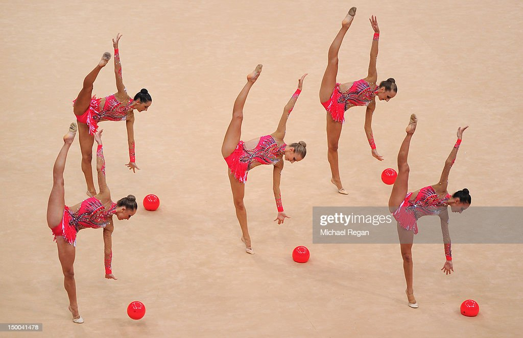 The Italy team compete in the Group All-Around Gymnastics Rhythmic on Day 13 of the London 2012 Olympics Games at Wembley Arena on August 9, 2012 in London, England.