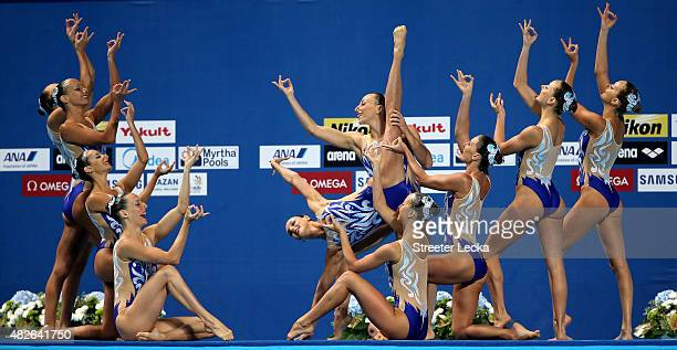 The Italy team compete in the Women's Free Combination Synchronised Swimming Final on day eight of the 16th FINA World Championships at the Kazan...