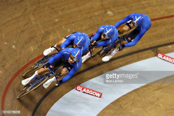 The Italy team competes in round one of the Mens Team Pursuit during the track cycling on Day Two of the European Championships Glasgow 2018 at Sir...