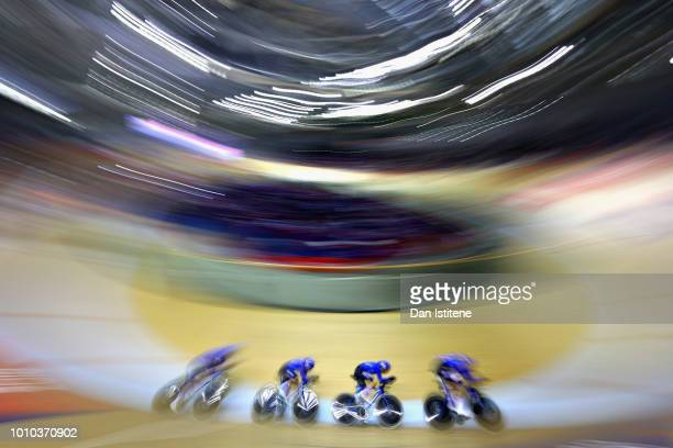 The Italy team competes in the Mens Team Pursuit gold medal final during the track cycling on Day Two of the European Championships Glasgow 2018 at...
