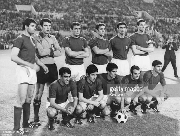 The Italy team line up before the European Cup Final against Yugoslavia at the Stadio Olimpico in Rome 10th June 1968 Italy won the game 20 The match...