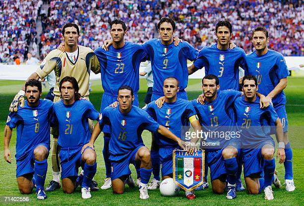 The Italy team line up for a group photo prior to the FIFA World Cup Germany 2006 Final match between Italy and France at the Olympic Stadium on July...