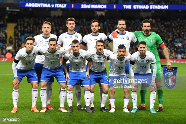 The Italy team line up prior to the International friendly match between Italy and Argentina at Etihad Stadium on March 23 2018 in Manchester England