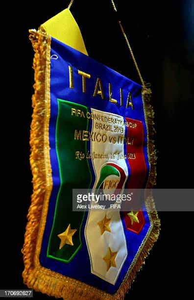 The Italy team pennant hangs in the dressing room prior to the FIFA Confederations Cup Brazil 2013 Group A match between Mexico and Italy at the...