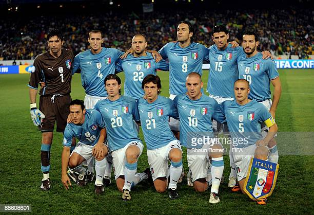 The Italy team pose for a team photo before the FIFA Confederations Cup match between Italy and Brazil at Loftus Versfeld on June 21 2009 in Pretoria...