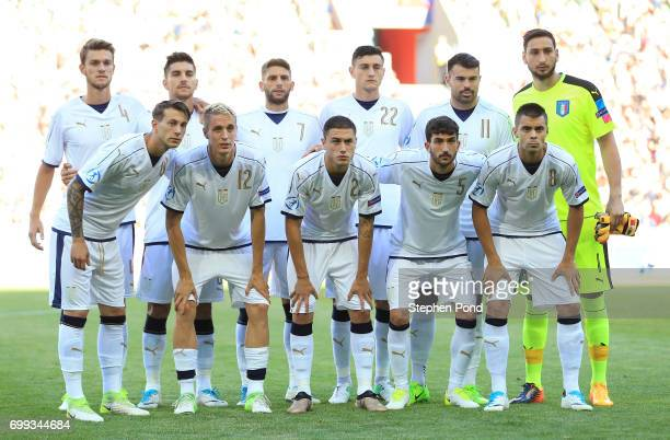 The Italy team pose for a team photo prior to the UEFA European Under21 Championship Group C match between Czech Republic and Italy at Tychy Stadium...