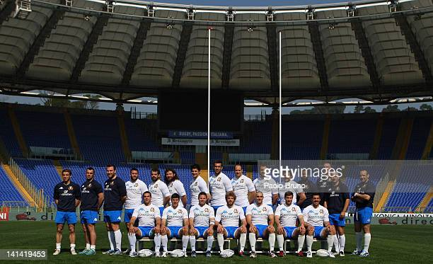 The Italy team poses during the Italy captain's run at Olimpico Stadium on March 16, 2012 in Rome, Italy.