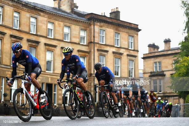 The Italy team ride in the peloton in the Men's Road Race during the road cycling on Day Eleven of the European Championships Glasgow 2018 at on...