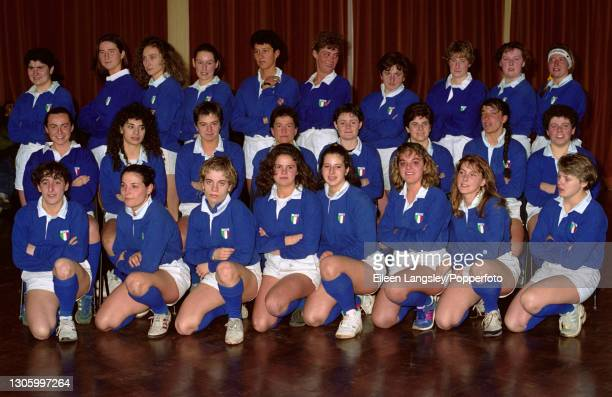 The Italy team squad posed together on the first day of competition in the 1991 Women's Rugby World Cup in Cardiff, Wales on 6th April 1991. Members...