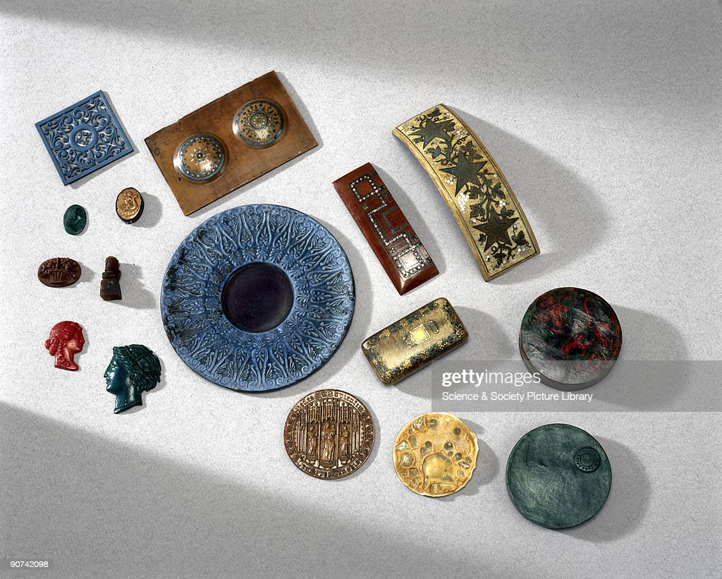 Objects made from Parkesine, 1855-1891. : News Photo