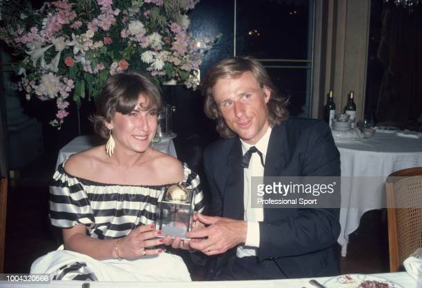 The ITF Men's Singles World Champion Bjorn Borg of Sweden and his girlfriend Mariana Simionescu pose with the trophy at the ITF World Champions...