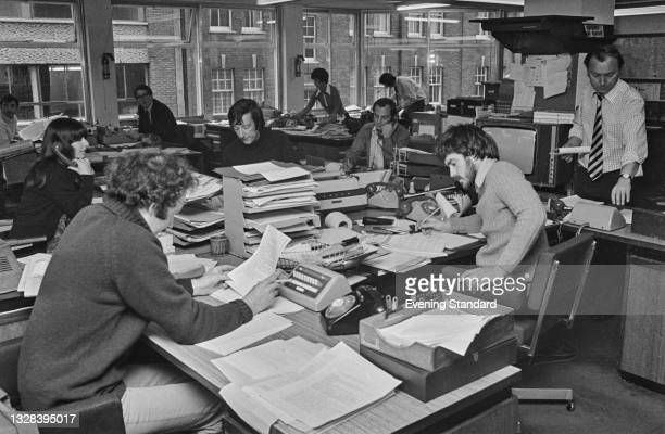 The ITN newsroom in London, UK, 8th October 1974.