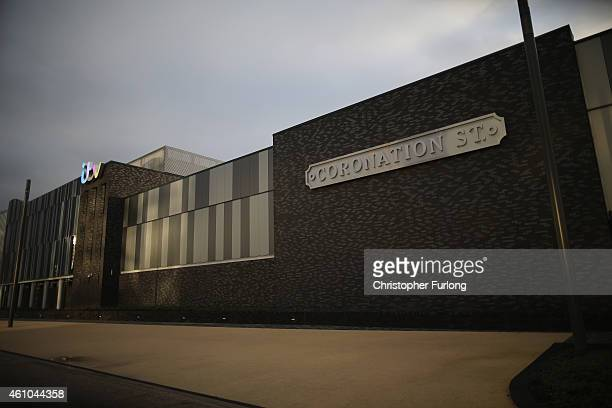 The ITV logo is displayed near the Coronation Street sign at Coronation Street studios at Media City in Salford Quays which is home to the BBC ITV...