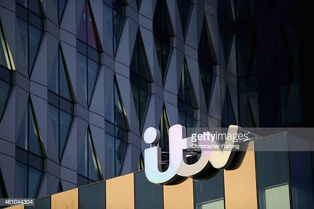 The ITV logo is displayed on studio buildings studios at Media City in Salford Quays which is home to the BBC ITV television studios and also houses...