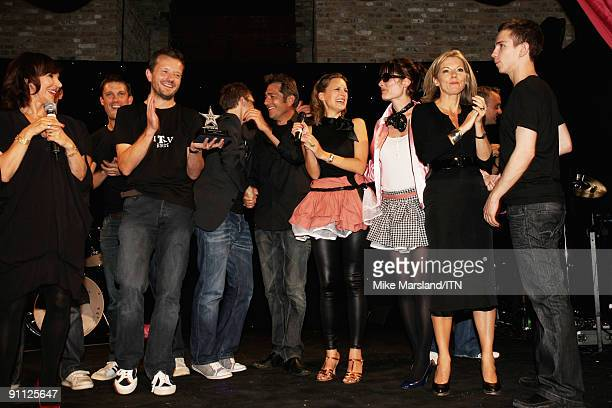 The ITV news team celebrate after their performance was voted the winner at the Newsroom�s Got Talent event held in aid of Leonard Cheshire...