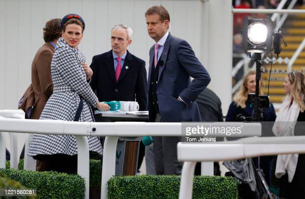 The ITV Racing presenters Francesca Cumani and Ed Chamberlain with pundits AP McCoy and Ruby Walsh during day one of the Cheltenham National Hunt...