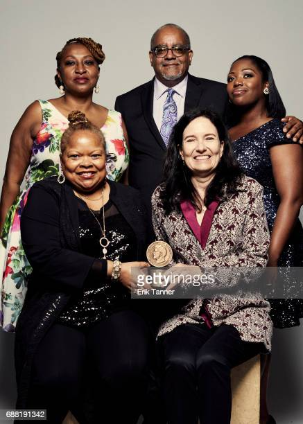 The ITVS team Sharon La Cruise Sally Jo Fifer and Sharese BullockBailey are photographed at the 76th Annual Peabody Awards at Cipriani Wall Street on...