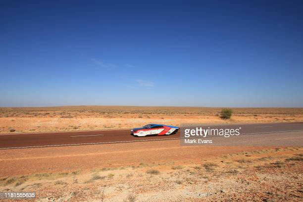 The IVE Engineering Solar Car Team car 'Sophie 6s' from Hong Kong competes in the Cruiser class on Day 5 of the 2019 Bridgestone World Solar...