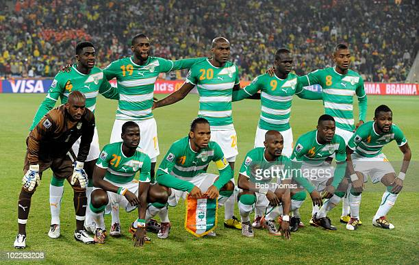 The Ivory Coast team pose for a team group before the start of the 2010 FIFA World Cup South Africa Group G match between Brazil and Ivory Coast at...