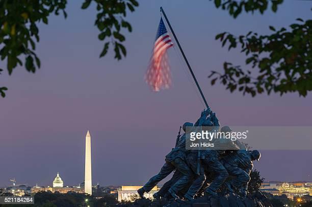 The Iwo Jima Memorial in Arlington Ridge Park.