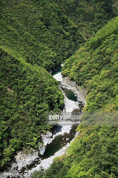 the iya valley, high angle view, tokushima prefecture, shikoku, japan - vale de iya - fotografias e filmes do acervo