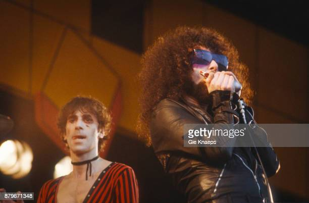 The J Geils Band Peter Wolf Magic Dick performing on stage Pinkpop Festival Geleen Netherlands 26th May 1980