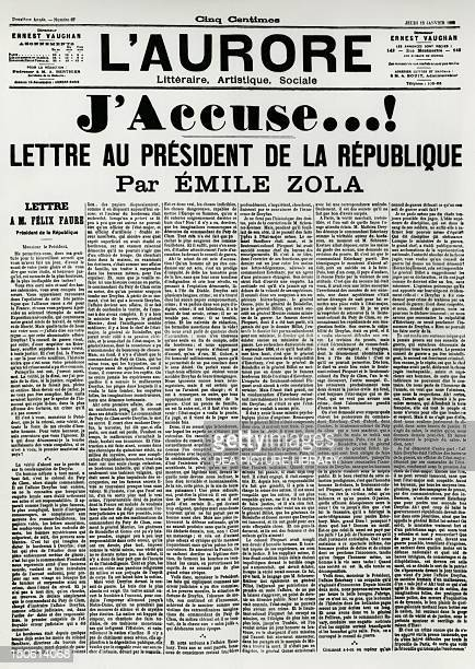 The J'accuse by Emile Zola published on L'Aurore for the Dreyfus Affair France 19th century