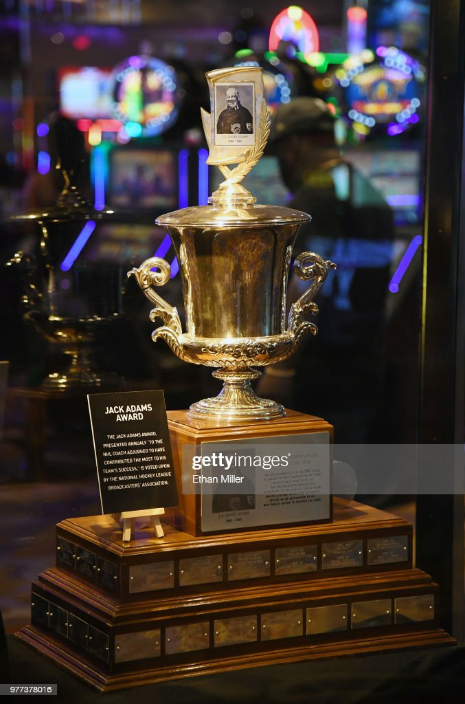 NHL Trophies Displayed At The Hard Rock Hotel & Casino Ahead Of The 2018 NHL Awards : News Photo