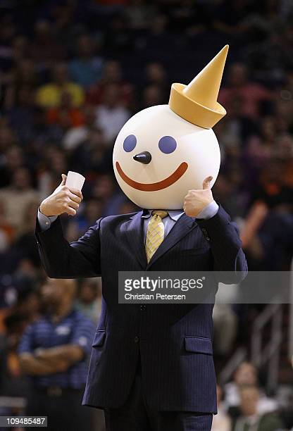 The Jack in the Box mascot attends the NBA game between the Dallas Mavericks and the Phoenix Suns at US Airways Center on February 17 2011 in Phoenix...
