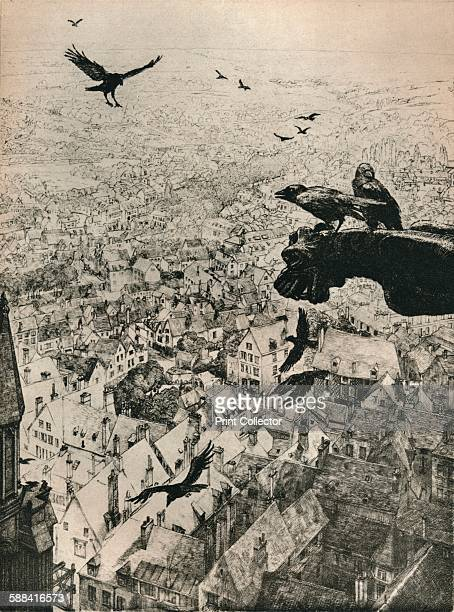 The Jackdaws of Chartres' 1917 Etching held in the National Gallery of Art Washington From The Studio Volume 86 Artist George Marples