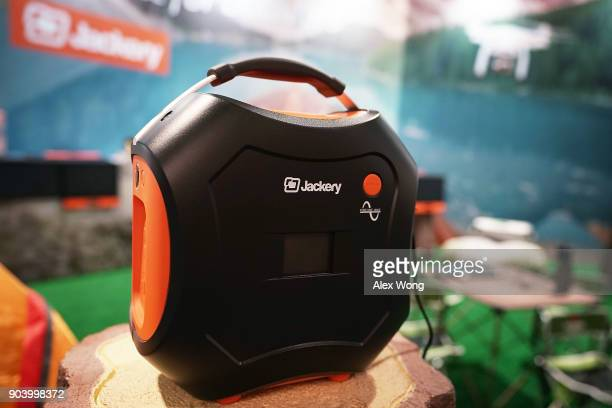 The Jackery Explorer 500 a portable solar generator delivering 500 watthour of electricity to connect and charge multiple devices is on display...