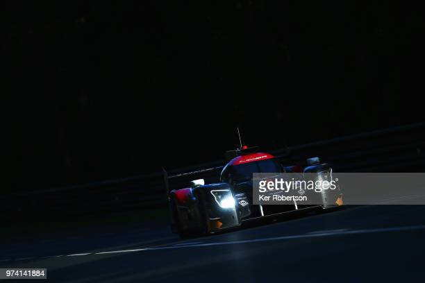 The Jackie Chan DC Racing Ligier JSP217 of David Cheng Nicholas Boulle and Pierre Nicolet drives during practice for the Le Mans 24 Hour race at the...